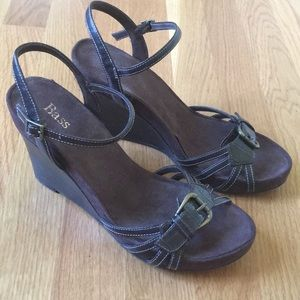 """Bass Ankle Strap Wedge """"Alexis""""  Sandals"""